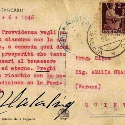 Postcard Signed by Saint Giovanni Calabria in 1946