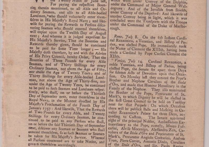 The London Gazette Reporting the 1758 Election of Clement XIII