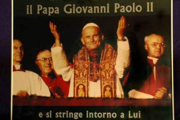Pope John Paul II: Poster Hung Outside of the Church of St. Agnes in Agony, Rome
