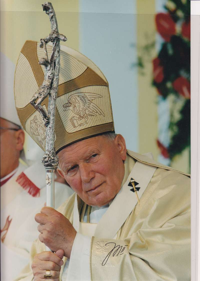 Autographed Photo of John Paul II Leaning Against His Staff