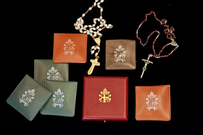 Seven Rosaries Gifted to Father Richard Kunst From Pope Saint John Paul II