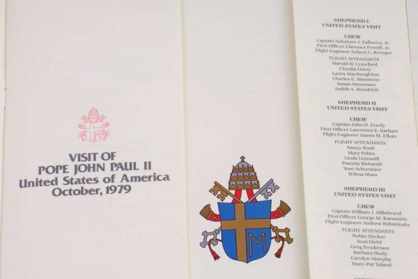 Saint John Paul II: Menu From Shepherd I, Dated October 1979
