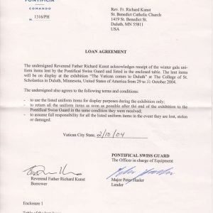 Letter of Agreement Between Father Richard Kunst and Commandant Elmar Mader of the Swiss Guard, page 1