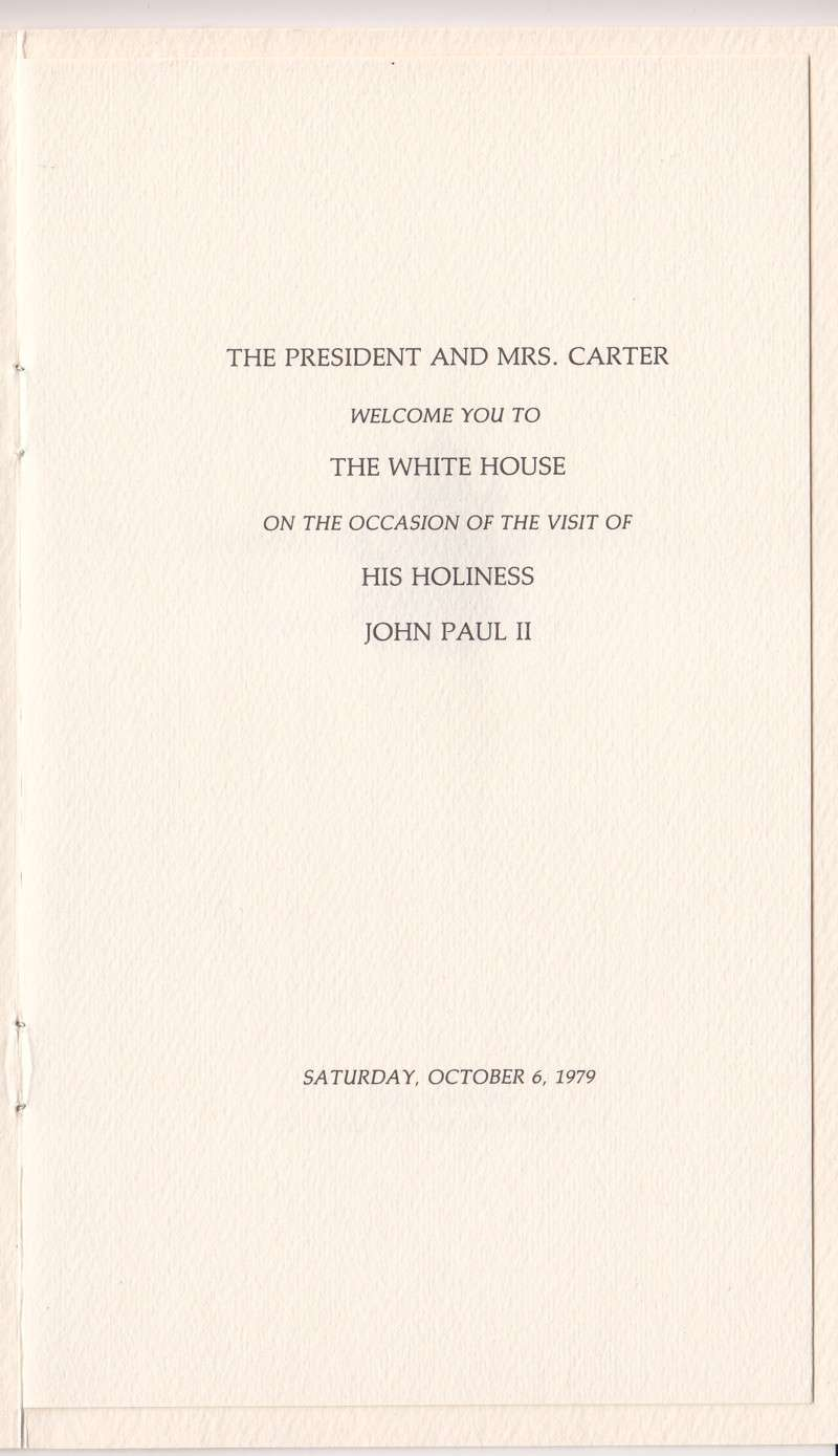 Invitation From President Jimmy Carter to Pope Saint John Paul II