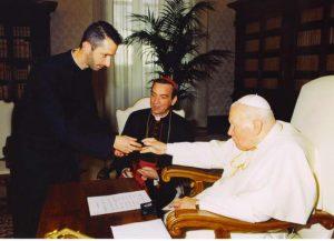 Saint John Paul II With Archbishop Dennis Schnurr and Father Richard Kunst