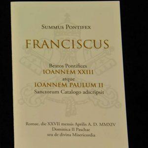 Holy Card from the Canonizations of Saint John Paul II & Saint John XXIII, April 27, 2014