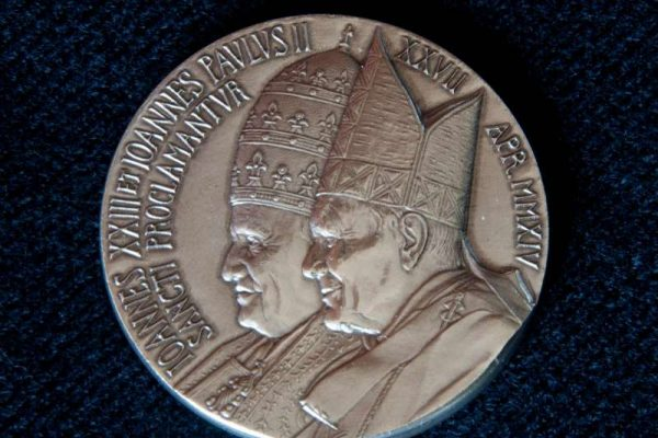 Bronze and Silver Medals of Saints  John Paul II &  John XXIII with Pope Francis' Coat of Arms on Back
