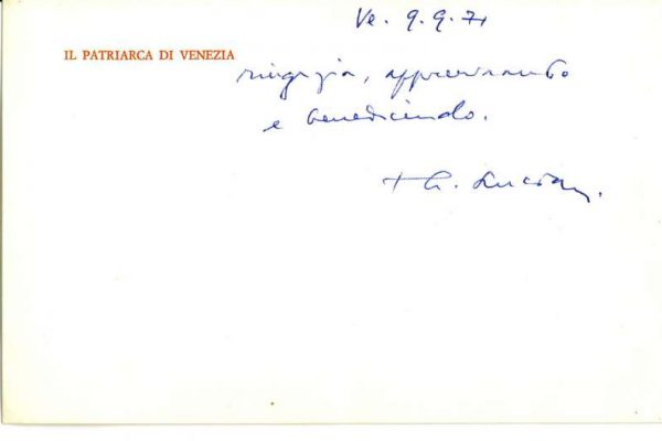 Calling Card Signed by Cardinal Albino Luciani