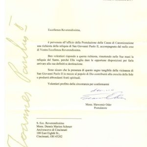 Letter Regarding Authenticity of Reliquary Containing the Blood of Saint John Paul II