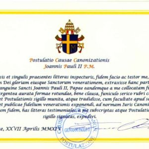 Document Authenticating the Relic of Saint John Paul II