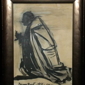 Original Charcoal Sketch by Giacomo Manzu From 1963, Signed
