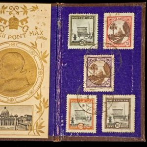 Folder Containing an Image of Pope Pius XII and Five Cancelled Stamps, Dated 1944
