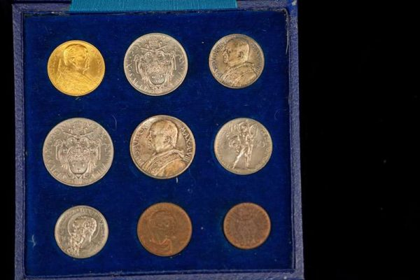 Two Coin Sets Commemorating the Lateran Treaty: Pope Pius XI