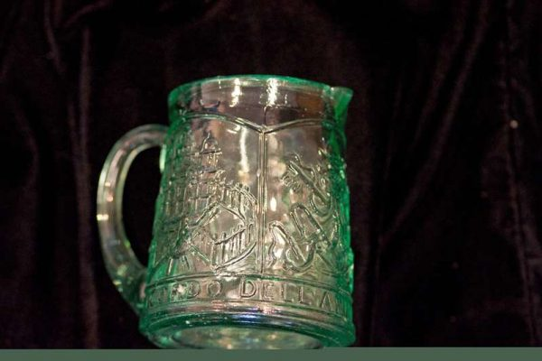 Green Glass Creamer Commemorating the Holy Year of 1950: Pope Pius XII
