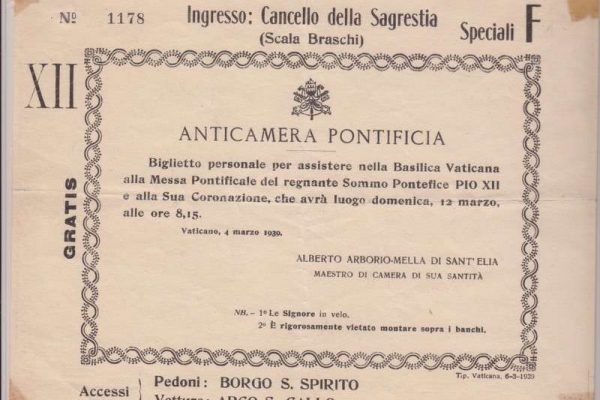 Ticket to the Coronation of the Pope Pius XII