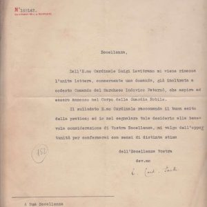 Letter Signed as Cardinal Secretary of State in Regard to the Swiss Guard, Dated 1938