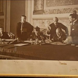 Original Framed Photo of the Signing of the Lateran Treat
