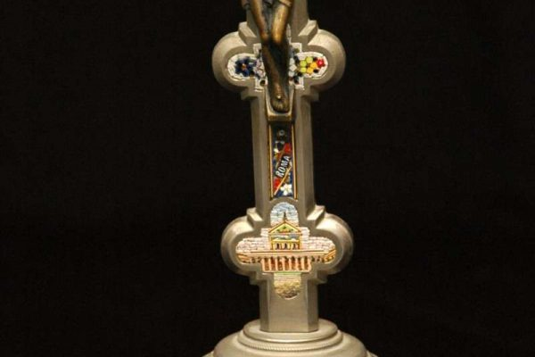 Standing Crucifix With Micro Mosaics: Pope Pius XII