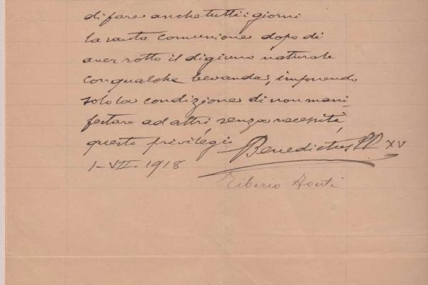 Letter of Pope Benedict XV  Giving Permission to Break the Eucharistic Fast