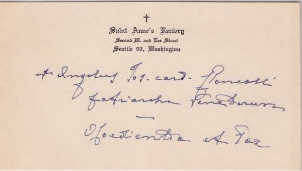 Calling Card Signed by Pope John XXIII as Cardinal