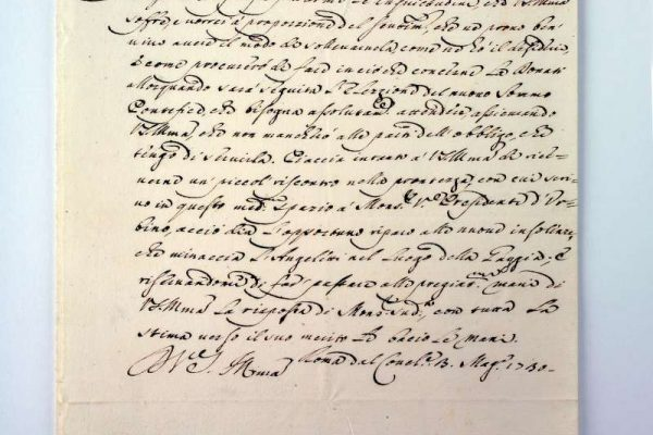 Letter Written As Cardinal Lambertini, Dated 1730