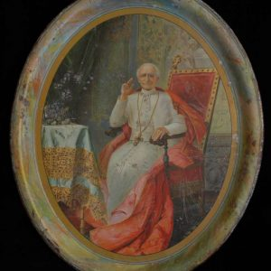 Tin Oval Serving Platter With Image of Leo XIII