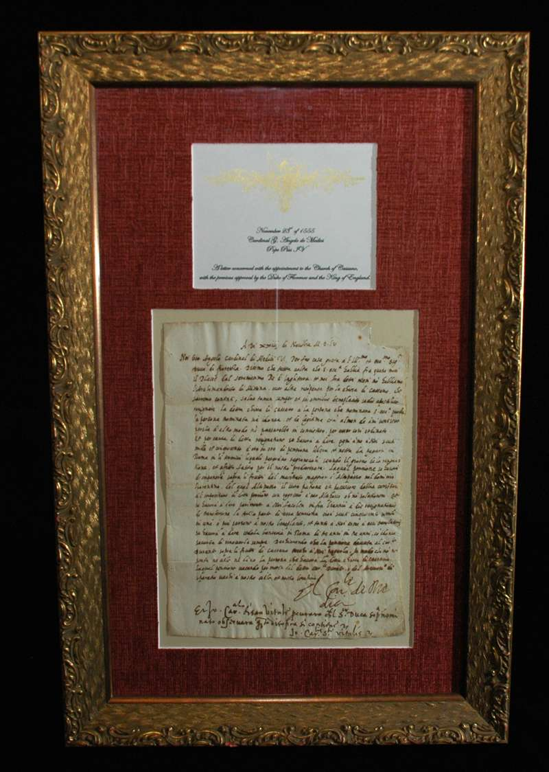 Autograph Signed as Cardinal Angelo De Medici on November 23rd, 1555