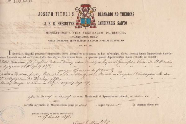 Untranslated Document of Saint Pius X as Cardinal