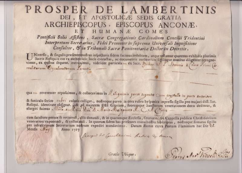 Document for a Relic of St. John of the Cross, Dated 1727