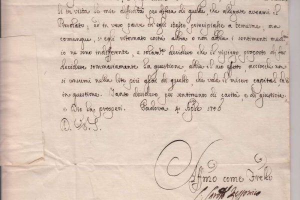 Letter Written As Cardinal Rezzonico, Dated 1750
