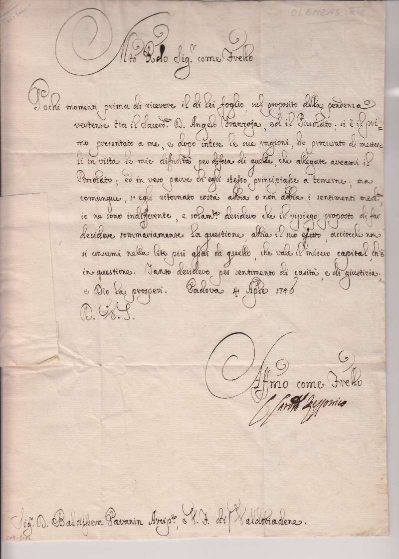 Letter Written As Cardinal Rezzonico, Dated 1750