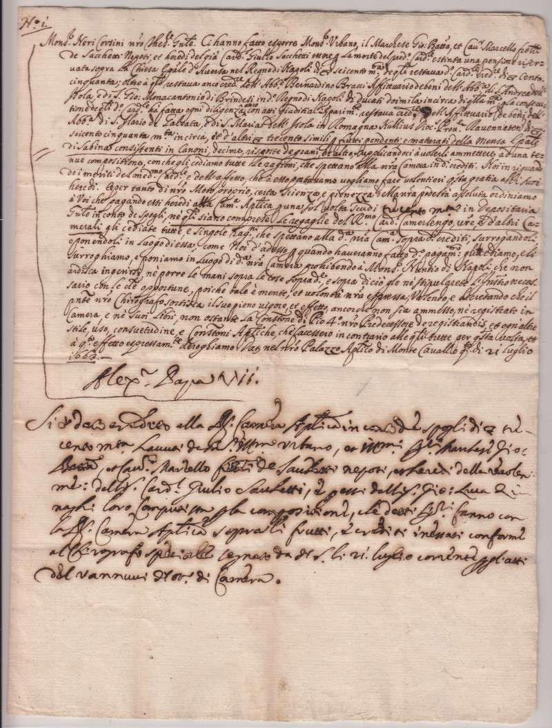 Letter Containing Pope Alexander VII's Signature