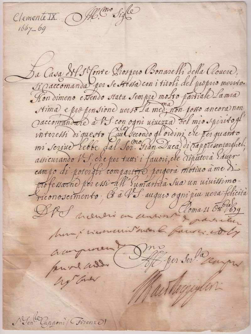 Document Signed as Cardinal Rospigliosi, Dated 1659