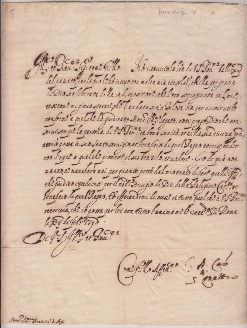 Untranslated Letter From 1590 in Italian, Signed as Cardinal (Pope Innocent IX)