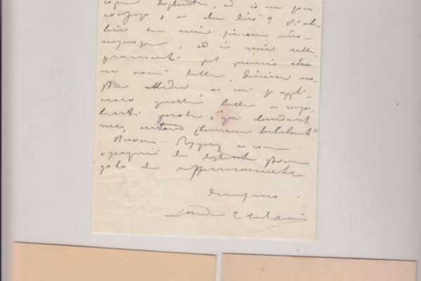 Two Business Cards and An Untranslated Letter Signed by Blessed Andrea Ferrari