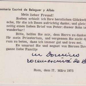 Card Typed in German, Dated 1975