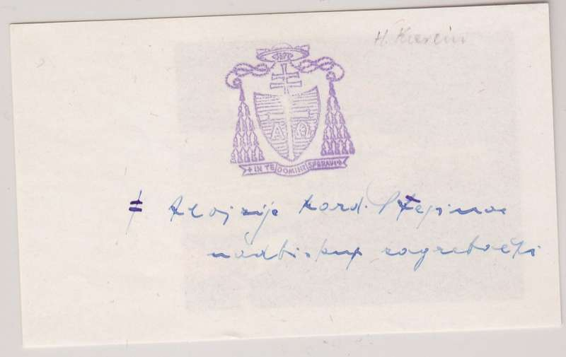 Holy Card With Ink Stamp of Blessed Aloysius Stepinac's Coat of Arms and Signature