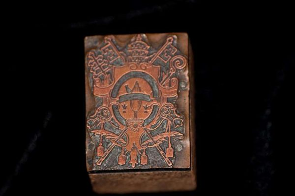 Printer's Block With the Image of Pope Leo XIII Coat of Arms