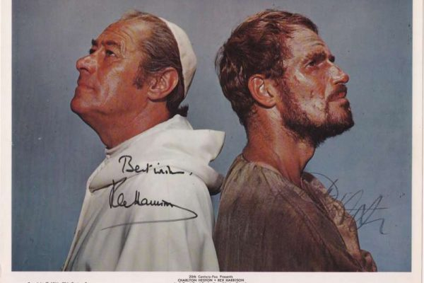 Autographed Color Photo of Rex Harrison and Charleton Heston
