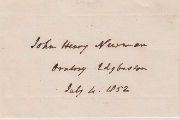Small Slip of Paper Signed by Blessed John Henry Newman