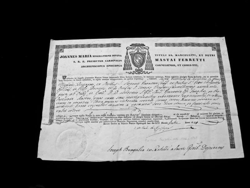 Authentication of a Relic of St. Teresa of Avila signed Cardinal Giovanni Mastai-Ferretti