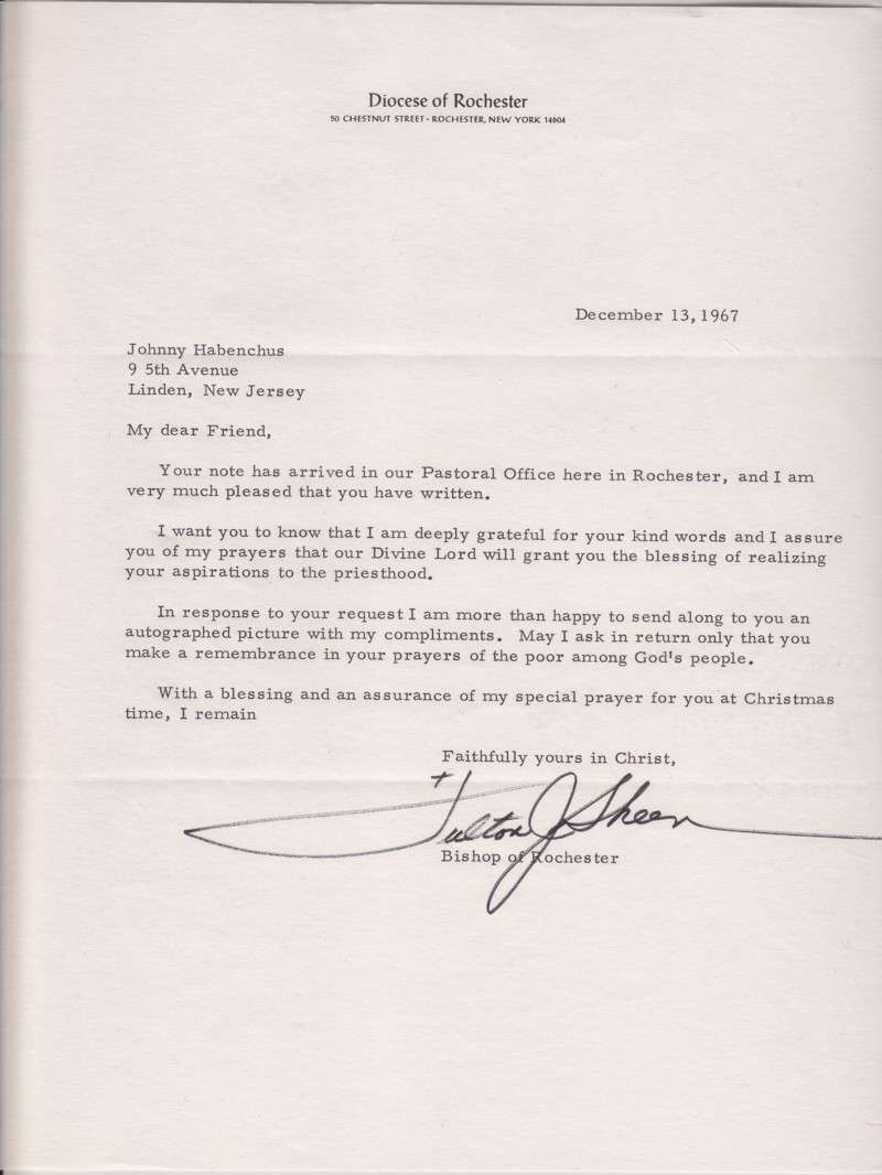 Letter From Archbishop Fulton J. Sheen, Signed and Dated, 1967