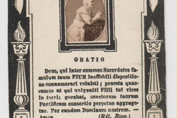 Holy Card With Relic of Bl. Pius IX