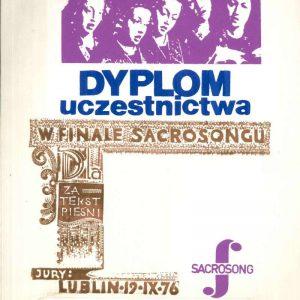 Diploma from the Polish Festival of Sacrosong, Dated 1976, Signed by Karol Wojtyla