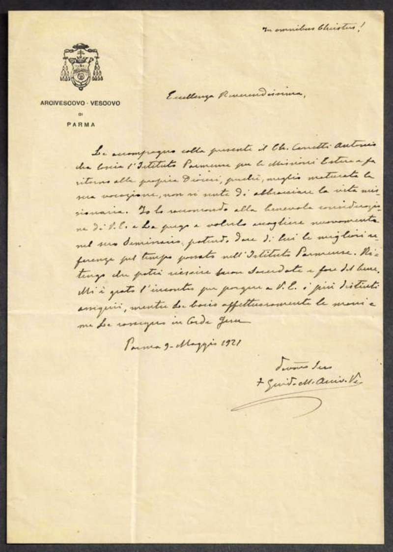 Signed Letter of Saint Guido M. Conforti