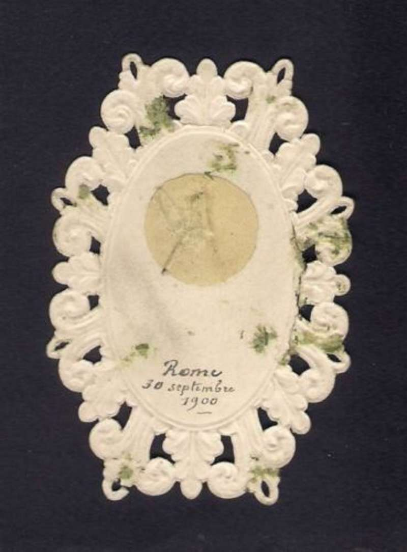 Holy Card Containing the Fringe of the Throne of Pope Leo XIII (reverse side)