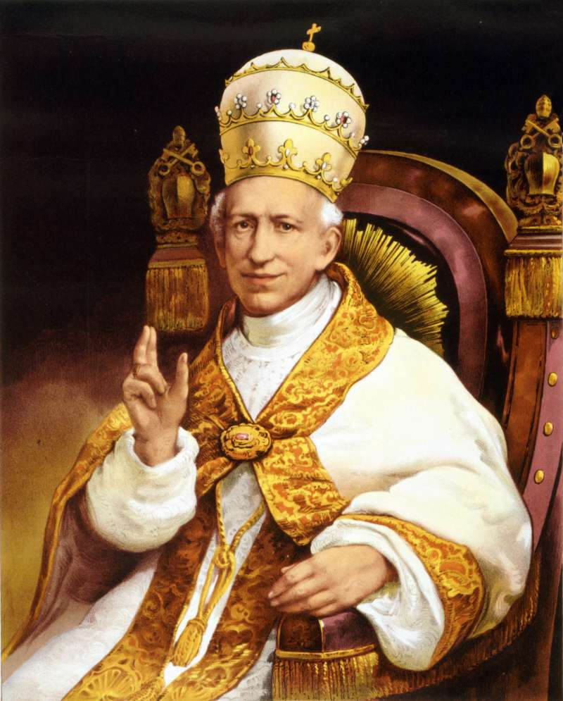 Image of Pope Leo XIII on the Papal Throne Showing Fringe Like the Holy Card