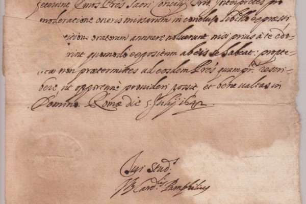 Document from Pope Innocent X,   Signed as Cardinal in 1642
