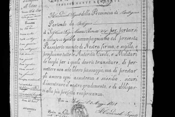 Pope Gregory XVI: Passport Issued by the Papal States to the Nephew of Blessed Pius IX