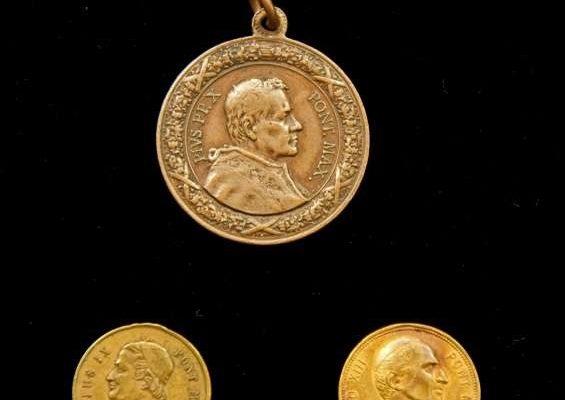 Three Medals: Bl. Pius IX, Leo XIII, St. Pius X